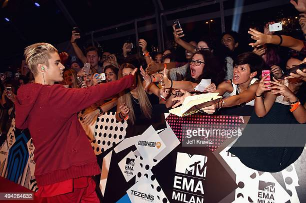 Justin Bieber attends the MTV EMA's 2015 at Mediolanum Forum on October 25 2015 in Milan Italy