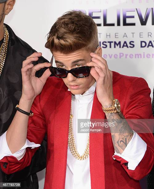Justin Bieber attends the premiere of Open Road Films' 'Justin Bieber's Believe' at Regal Cinemas LA Live on December 18 2013 in Los Angeles...