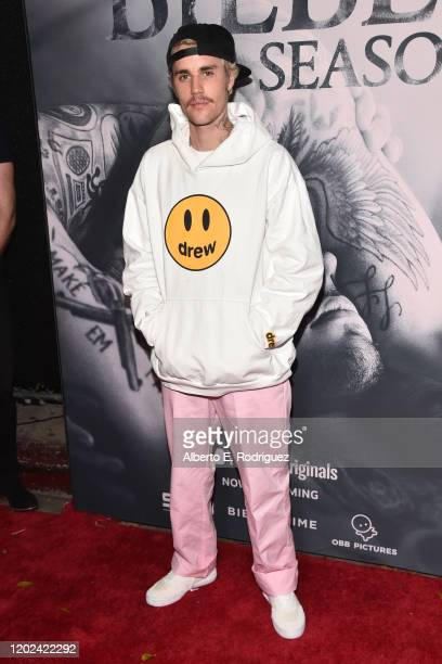 Justin Bieber attends the premiere of YouTube Original's Justin Bieber Seasons at the Regency Bruin Theatre on January 27 2020 in Los Angeles...