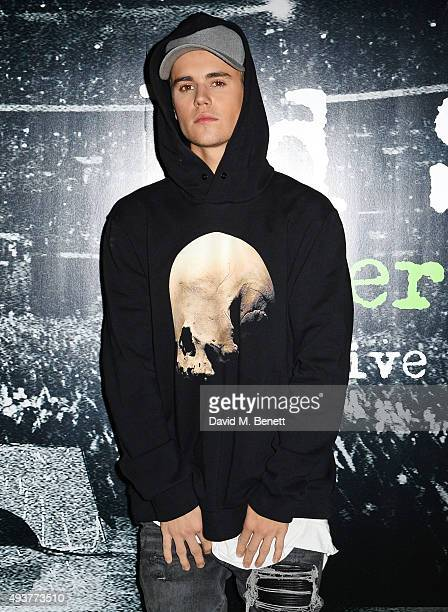 Justin Bieber attends the World Premiere of Ed Sheeran Jumpers For Goalposts at Odeon Leicester Square on October 22 2015 in London England