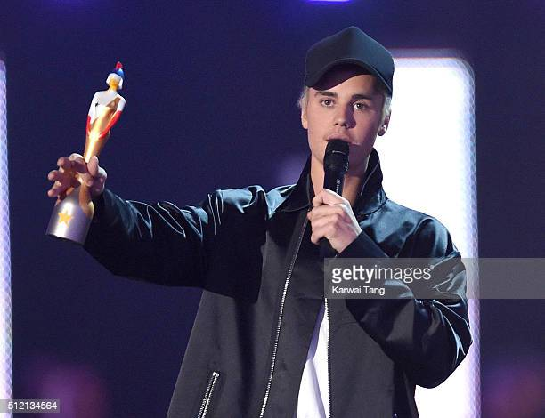 Justin Bieber collects his Best International Male Award at the BRIT Awards 2016 at The O2 Arena on February 24 2016 in London England