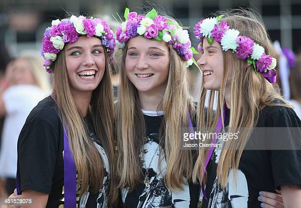 Justin Bieber concert goers Jessica Bryant Emmy BannerSmith and Sam Mogford arrive at Vector Arena on November 23 2013 in Auckland New Zealand