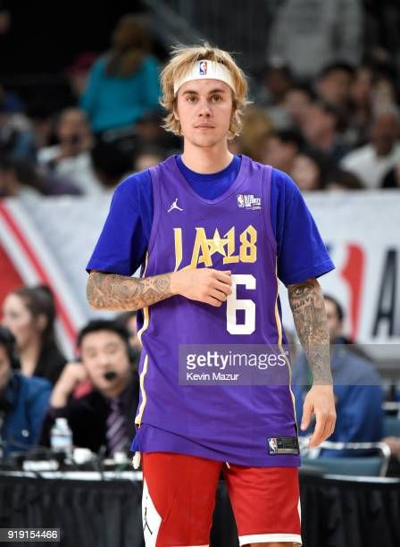 Justin Bieber during the NBA All-Star Celebrity Game 2018 presented by Ruffles at Verizon Up Arena at LACC on February 16, 2018 in Los Angeles,...