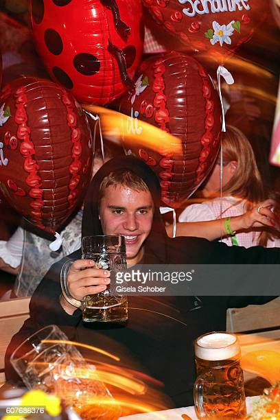 Justin Bieber during the opening of the oktoberfest 2016 at the 'Kaeferschaenke' beer tent at Theresienwiese on September 17 2016 in Munich Germany
