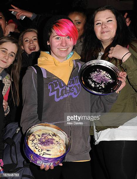 Justin Bieber fans with a birthday cake on March 1 2013 in London England