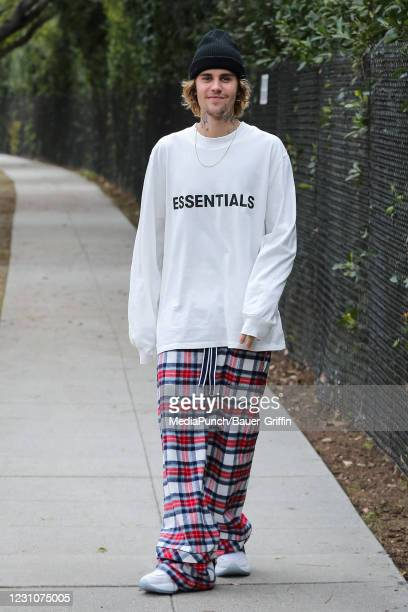 Justin Bieber is seen on February 09, 2021 in Los Angeles, California.