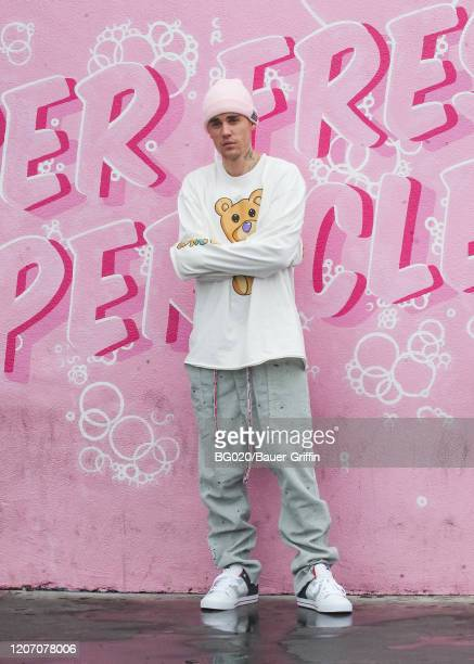 Justin Bieber is seen on March 13 2020 in Los Angeles California
