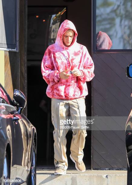 Justin Bieber is seen on October 24, 2018 in Los Angeles, California.