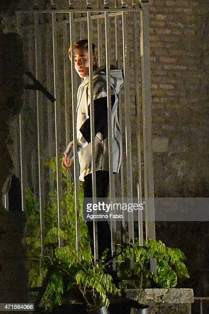 Justin Bieber is seen on the set of 'Zoolander 2' on April 30 2015 in Rome