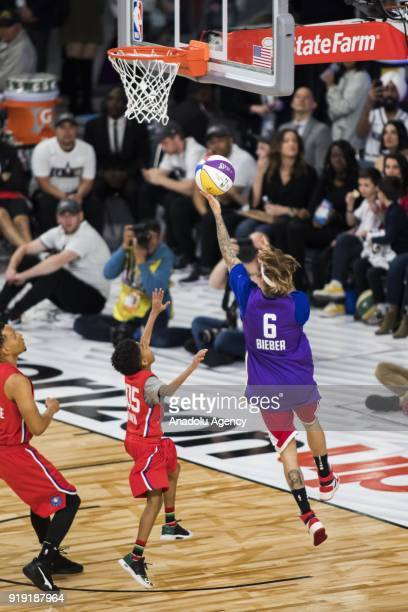 Justin Bieber of Team Lakers goes for a lay up during the 2018 NBA AllStar Celebrity Game as part of AllStar Weekend at the Los Angeles Convention...