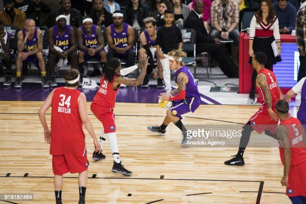 Justin Bieber of Team Lakers in action against Quavo of Team Clippers during the 2018 NBA AllStar Celebrity Game as part of AllStar Weekend at the...