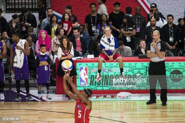 Justin Bieber of Team Lakers looks on during the 2018 NBA AllStar Celebrity Game as part of AllStar Weekend at the Los Angeles Convention Center in...