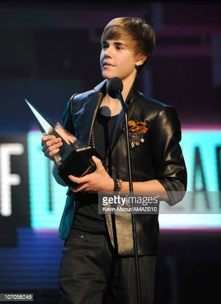 Justin Bieber on stage at the 2010 American Music Awards held at Nokia Theatre LA Live on November 21 2010 in Los Angeles California