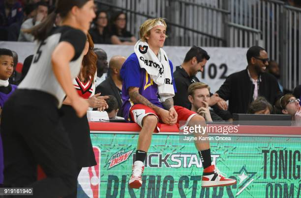 Justin Bieber on the sideline during the 2018 NBA AllStar Game Celebrity Game at Los Angeles Convention Center on February 16 2018 in Los Angeles...