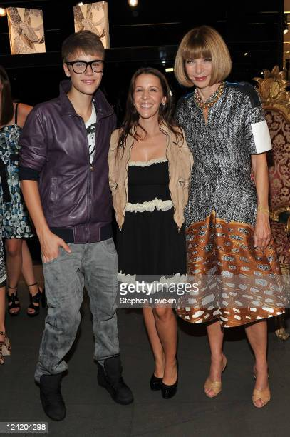 Justin Bieber Pattie Mallette and EditorInChief of American Vogue Anna Wintour attend the Dolce Gabbana celebration during Fashion's Night Out at...