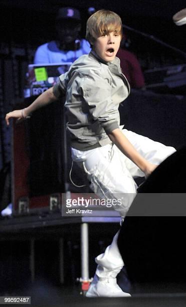 Justin Bieber performs at KIIS FM's 2010 Wango Tango Concert at Nokia Theatre LA Live on May 15 2010 in Los Angeles California