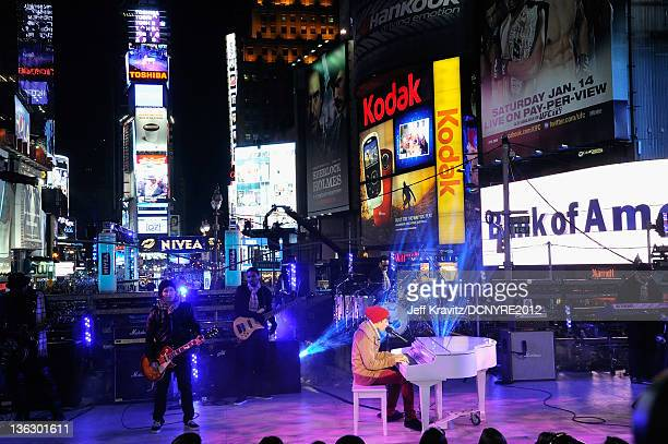 Justin Bieber performs during Dick Clark's New Year's Rockin' Eve with Ryan Seacrest 2012 at Times Square on December 31 2011 in New York City