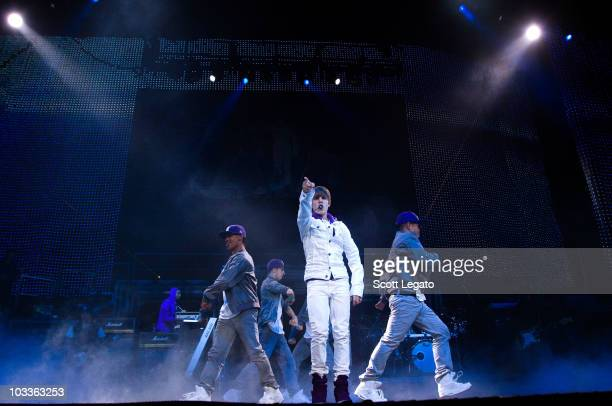 Justin Bieber performs during his My World Tour at Conseco Fieldhouse on August 12 2010 in Indianapolis Indiana