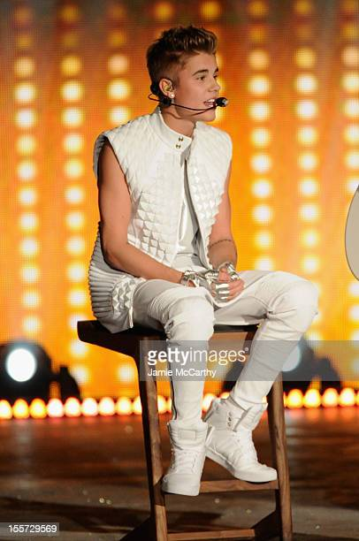 Justin Bieber performs during the 2012 Victoria's Secret Fashion Show at the Lexington Avenue Armory on November 7 2012 in New York City