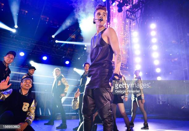 Justin Bieber performs during the halftime show at the CFL's 100th Grey Cup Championship at the Rogers Centre on November 25 2012 in Toronto Canada