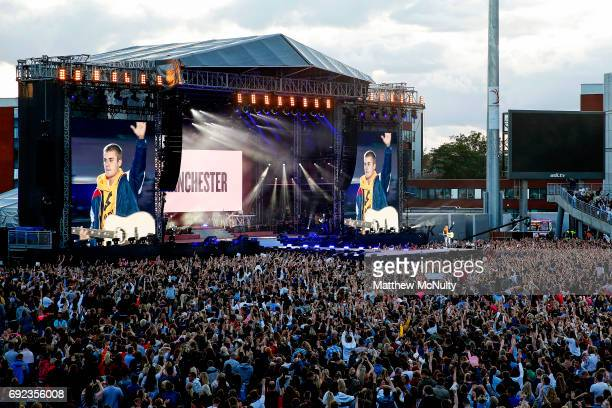 Justin Bieber performs during the One Love Manchester concert at Old Trafford Cricket Ground Cricket Club on June 4 2017 in Manchester England
