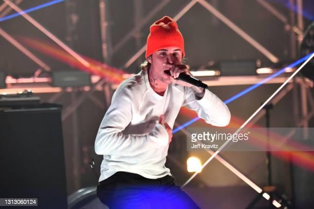 Justin Bieber performs during the Triller Fight Club: Jake Paul v Ben Askren at Mercedes-Benz Stadium on April 17, 2021 in Atlanta, Georgia.
