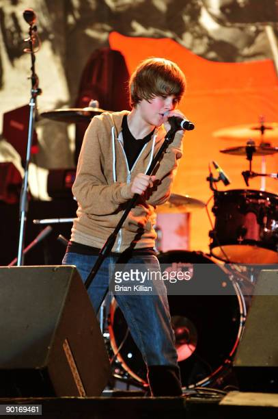 Justin Bieber performs in the mtvU Video Music Awards tour at Six Flags Great Adventure on August 28 2009 in Jackson New Jersey