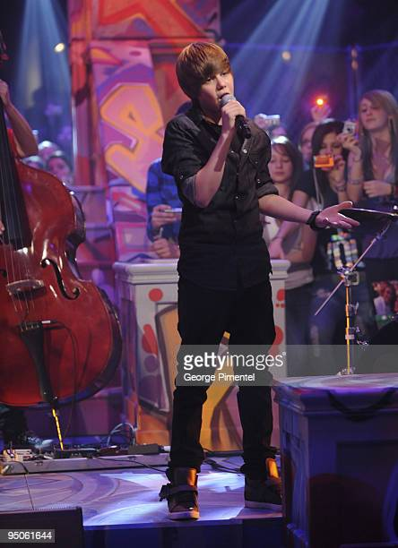 Justin Bieber performs on Live@Much at the MuchMusic HQ on December 22 2009 in Toronto Canada