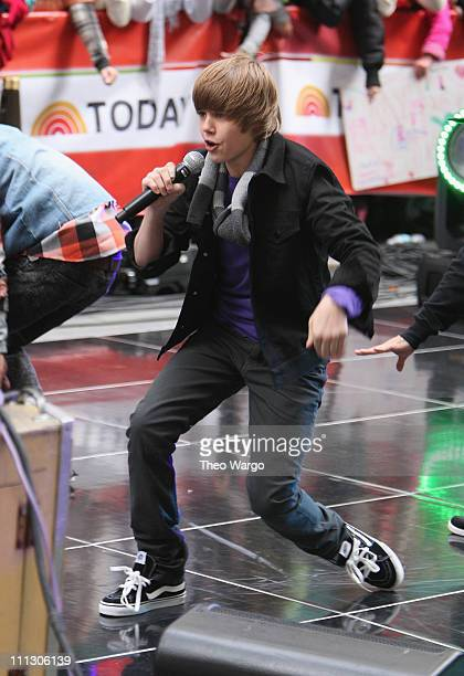 Justin Bieber performs on NBC's 'Today' at Rockefeller Center on October 12 2009 in New York City