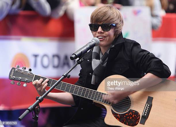 "Justin Bieber performs on NBC's ""Today"" at Rockefeller Center on October 12, 2009 in New York City."
