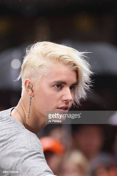 Justin Bieber performs on NBC's Today Show at Rockefeller Plaza on September 10 2015 in New York City
