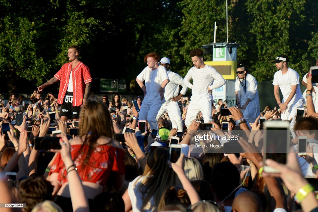 Justin Bieber performs on stage at the Barclaycard Presents British Summer Time Festival in Hyde Park on July 2, 2017 in London, England.