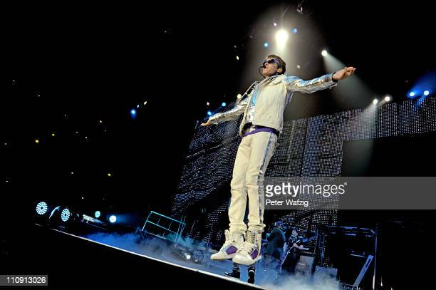 Justin Bieber performs on stage at the KoenigPilsenerArena on March 26 2011 in Oberhausen Germany
