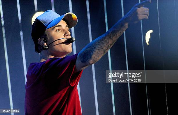 Justin Bieber performs on stage during the MTV EMA's 2015 at the Mediolanum Forum on October 25 2015 in Milan Italy