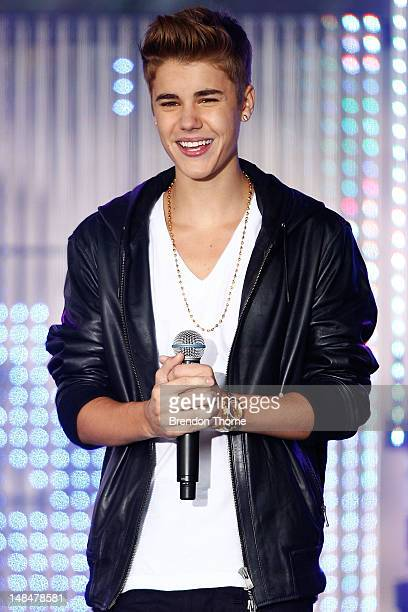 Justin Bieber performs on stage during the 'Sunrise' broadcast at the Overseas Passenger Terminal on July 18 2012 in Sydney Australia