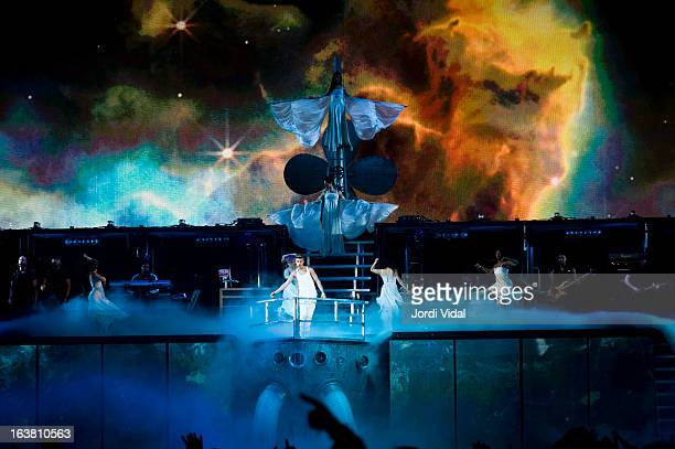 Justin Bieber performs on stage in concert at Palau Sant Jordi on March 16 2013 in Barcelona Spain