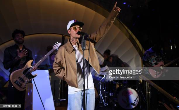Justin Bieber performs onstage at h.wood Group's grand openingof Delilah at Wynn Las Vegas on July 10, 2021 in Las Vegas, Nevada.