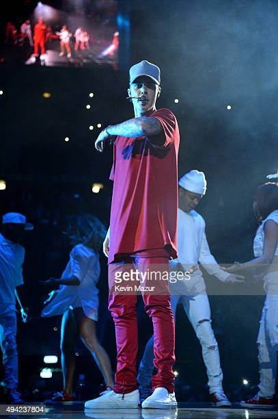 Justin Bieber performs onstage at the MTV EMA's 2015 at Mediolanum Forum on October 25, 2015 in Milan, Italy.