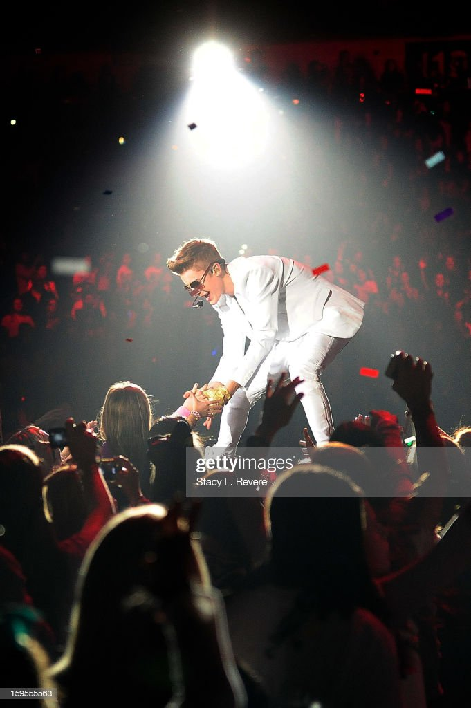 Justin Bieber performs onstage at the New Orleans Arena on January 15, 2013 in New Orleans, Louisiana.