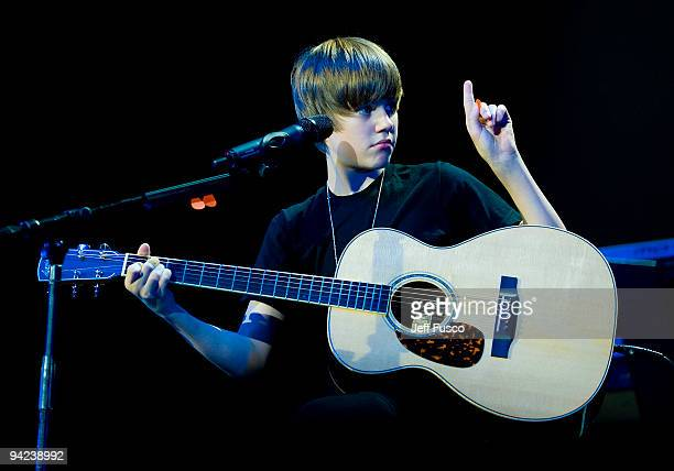 Justin Bieber performs onstage at the Q102 Jingle Ball at the Susquehanna Bank Center on December 9 2009 in Camden New Jersey