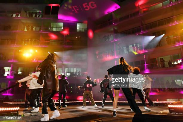 Justin Bieber performs onstage during NYE Live with Justin Bieber, presented by T-Mobile, at The Beverly Hilton on December 31, 2020 in Beverly...