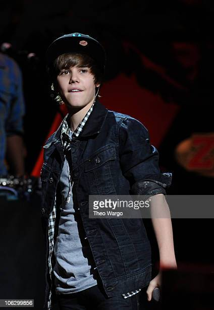 Justin Bieber performs onstage during Z100's Jingle Ball 2009 presented by HM at Madison Square Garden on December 11 2009 in New York City