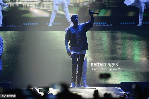 """Justin Bieber performs the concert of his """"The Purpose Tour"""" at Unipol Arena on November 19, 2016 in Bologna, Italy."""
