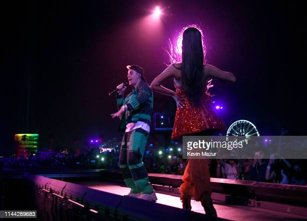 Justin Bieber performs with Ariana Grande at Coachella Stage during the 2019 Coachella Valley Music And Arts Festival on April 21 2019 in Indio...
