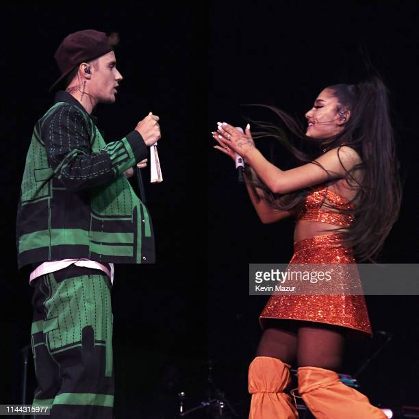 Justin Bieber performs with Ariana Grande at Coachella Stage during the 2019 Coachella Valley Music And Arts Festival on April 21, 2019 in Indio,...