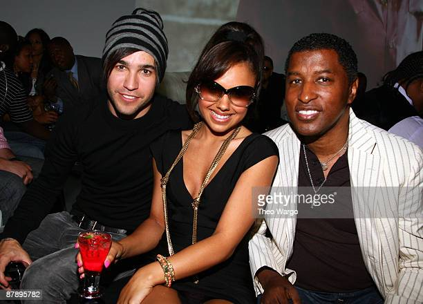 Justin Bieber Pete Wentz Kristinia DeBarge and Kenneth 'Babyface' Edmonds attends the Island Def Jam Spring Collection party at Stephen Weiss Studio...