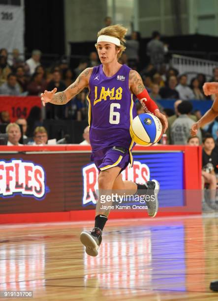 Justin Bieber plays during the 2018 NBA AllStar Game Celebrity Game at Los Angeles Convention Center on February 16 2018 in Los Angeles California