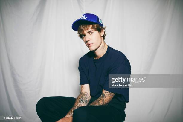 Justin Bieber poses during a new studio photo shoot August 2020 in Los Angeles, California.