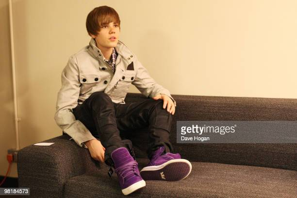 Justin Bieber poses for portraits backstage at a Biz Session to promote his album My World 20 on March 19 2010 in London England
