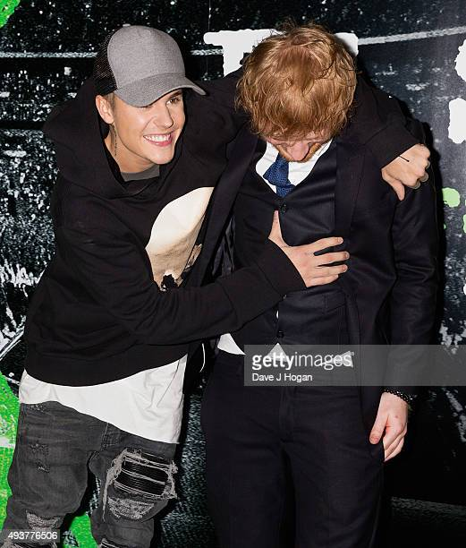 Justin Bieber poses with Ed Sheeran at the World Premiere of Jumpers For Goalposts at Odeon Leicester Square on October 22 2015 in London England